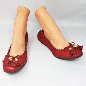 Tory Burch Reese Ballet Flats Red Tassel 9.5M